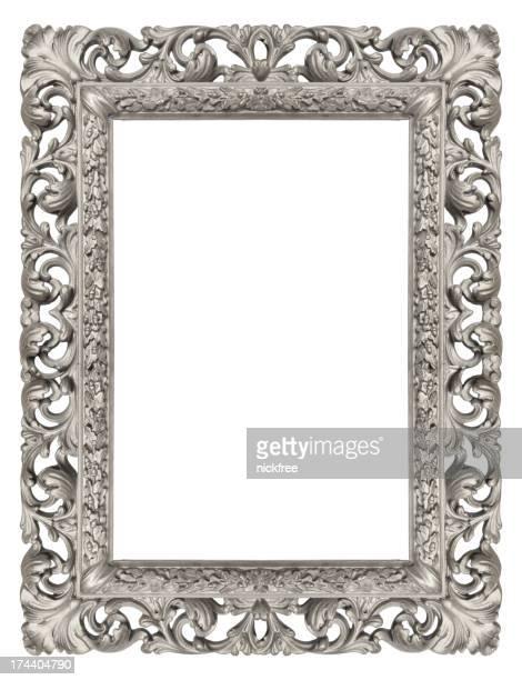 装飾的なシルバーのアンティークの写真フレーム