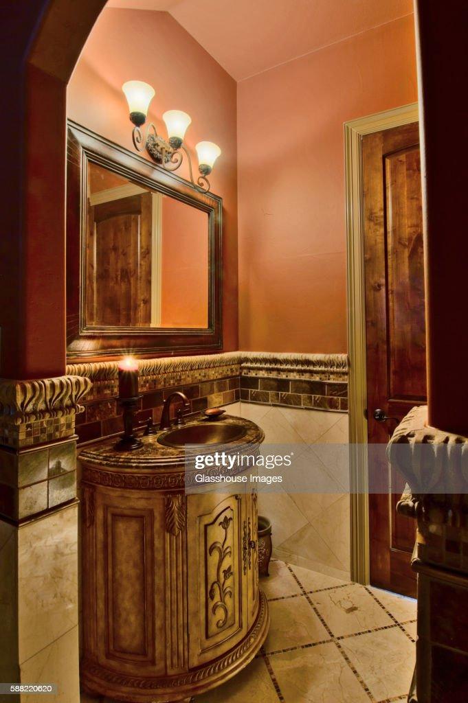 Ornate Sink in Small Bathroom