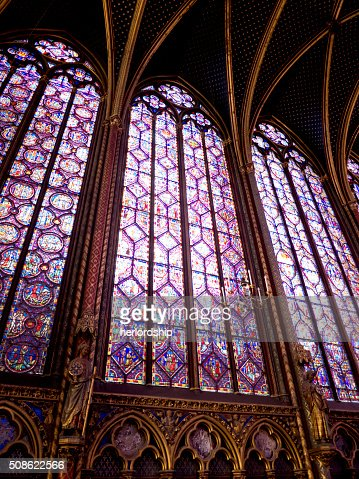 Ornate stained glass windows with delicate tracery : Stock Photo
