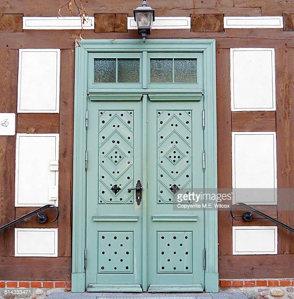 Ornate wooden double doors