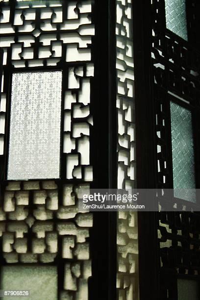 Ornate wooden Japanese screen