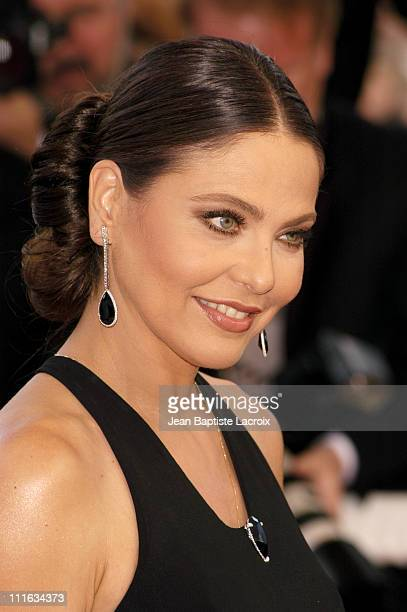 Ornella Muti wearing jewelry by Chopard during 2003 Cannes Film Festival Closing Ceremony Arrivals at Palais des Festivals in Cannes France