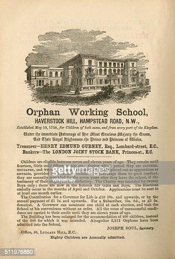 Orphan Working School, Hampstead - advertisement, 1865