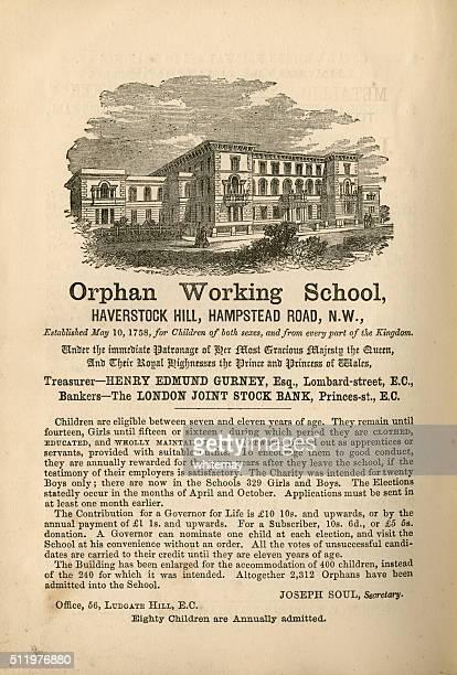孤児動作学校、Hampstead -広告、1865