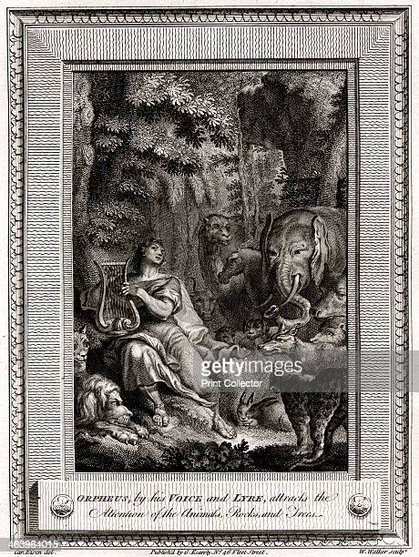 'Orpheus by his Voice and Lyre attracts the attention of the Animals Rocks and Trees' 1774 A plate from The CopperPlate Magazine or A Monthly...