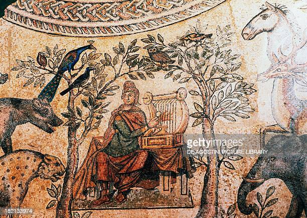 Orpheus charming the animals Imperialage Roman mosaic Roman Civilisation 1st century BC5th century AD Laon Musée