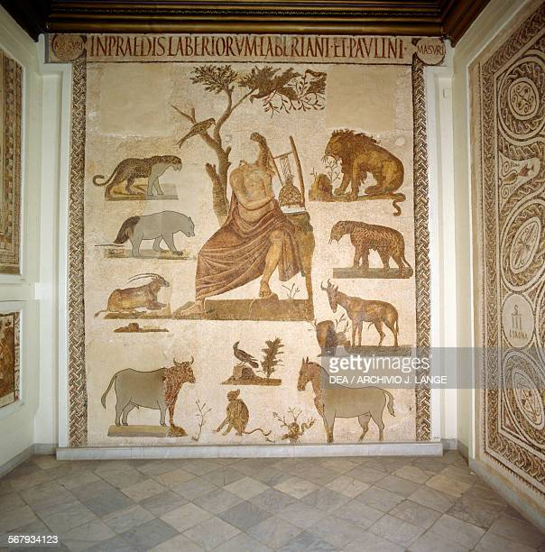 Orpheus charming the animals with his lyre mosaic by Masurus from Uthina Oudna Tunisia Roman civilisation 2nd3rd century AD Tunis Musée National Du...