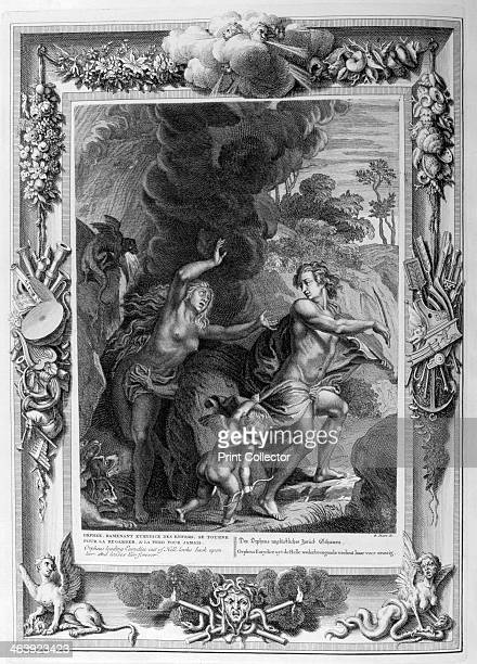 Orpheus leading Eurydice out of Hell looks back upon her and loses her forever 1733 A plate from Le temple des Muses Amsterdam 1733 Found in the...