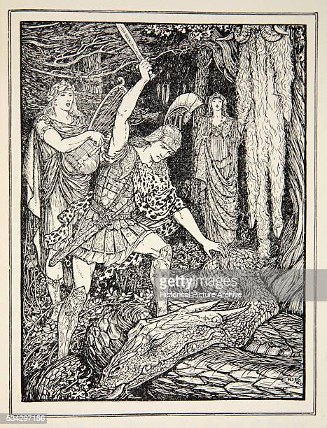 'Orpheus sings the serpent to sleep before Jason cuts off its head Illustration by Henry Justice Ford from ''Tales of the Greek Seas'' by Andrew Lang...