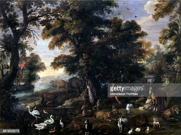 Orpheus taming the beasts by Unknown Dutch Artist 1650 1699 17th Century oil on copper 42 x 32 cm Italy Lombardy Milan Castello Sforzesco Civic...