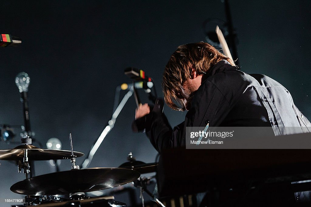 Orri Pall Dyrason of the Icelandic rock band Sigur Ros performs on stage during day 5 of Iceland Airwaves Music Festival at Laugardagshollin on November 4, 2012 in Reykjavik, Iceland.