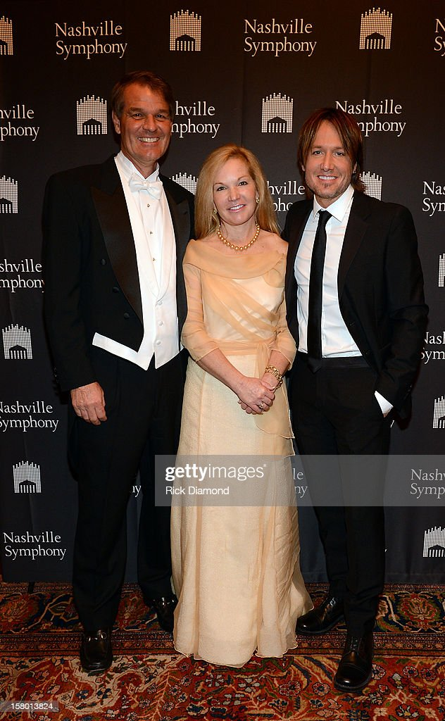 Orrin Ingram, Lee Ann Ingram, Symphony Ball Chair, and Keith Urban attend Symphony Ball at Schermerhorn Symphony Center, where Keith Urban accepted the Harmony Award on December 8, 2012 in Nashville, Tennessee.