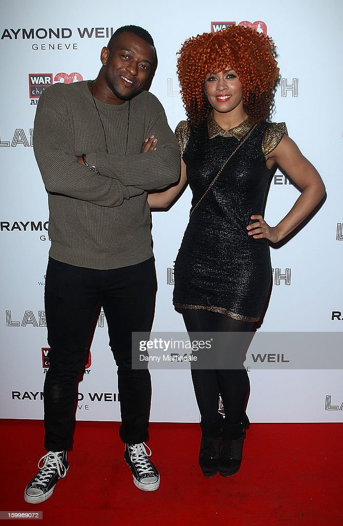 Orritise Williams from JLS and girlfriend AJ attend the Raymond Weil pre-Brit Awards dinner and 20th anniversary celebration of War Child at The Mosaica on January 24, 2013 in London, England.