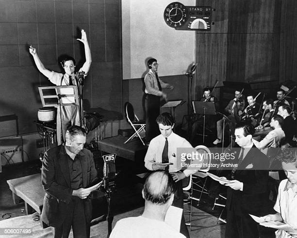 Orson Welles rehearsing a radio broadcast of HG Wells' classic The War of the Worlds on October 10 1938 The broadcast which claimed that aliens from...