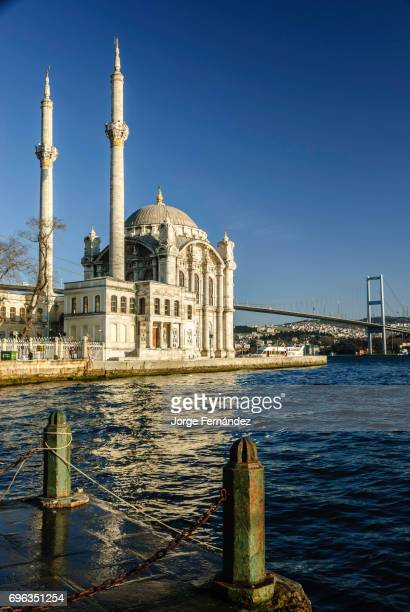 Ortakoy Mosque and modern bridge on a clear sky