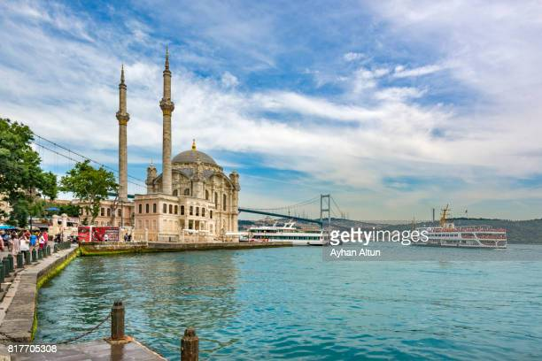 Ortakoy Mosque and The July 15 martyr's Bridge in the backround,Besiktas,Turkey