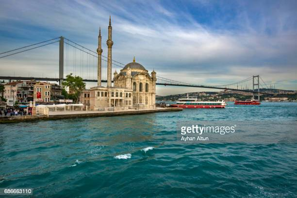 Ortakoy Mosque and The July 15 Martyr's Bridge,Istanbul,Turkey
