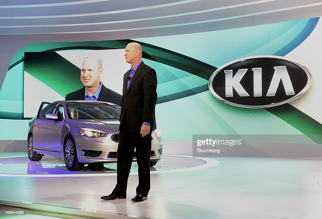 Orth Hedrick, director of product planning for Kia Motors America, speaks during the unveiling of the Cadenza sedan at the 2013 North American International Auto Show (NAIAS) in Detroit, Michigan, U.S., on Tuesday, Jan. 15, 2013. The Detroit auto show runs through Jan. 27 and will display over 500 vehicles, representing the most innovative designs in the world. Photographer: David Paul Morris/Bloomberg via Getty Images