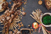 Orthodox Christmas eve traditions on rustic table.  Top view, blank space, vintage toned image