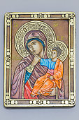 Orthodox icon of the Virgin Mary with the Child in a gilded frame