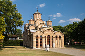 Assumption cathedral of orthodox monastery Gracanica located in Kosovo, UNESCO World heritage site фтв Serbian enclave