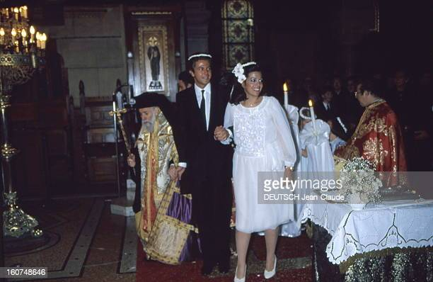 Orthodox Wedding For Christina Onassis And Thierry Roussel Attitude souriante de Christina ONASSIS et son mari Thierry ROUSSEL main dans la main le...