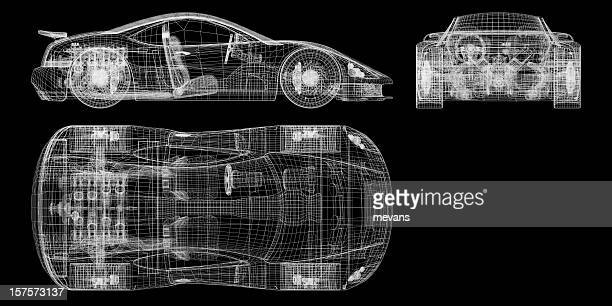 Orthographic Schematic of a Sports Car