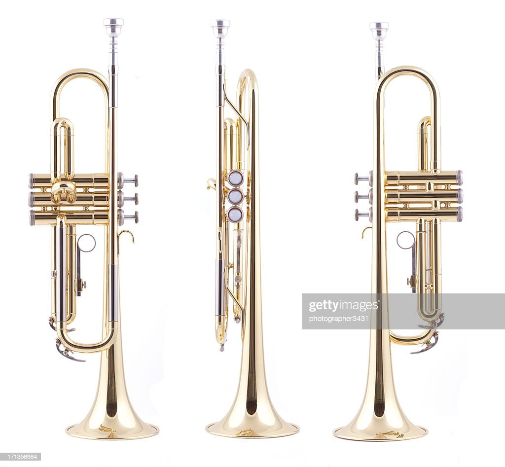 Orthographic views of a trumpet
