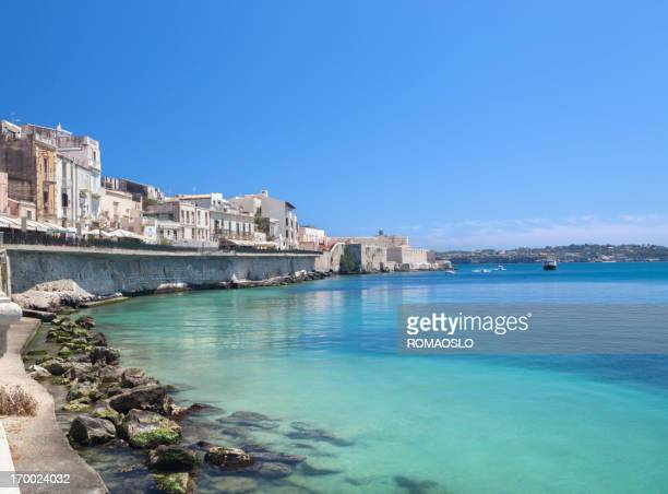 Ortygia waterfront Promenade and Castello Maniace, Siracusa Sicily Italy
