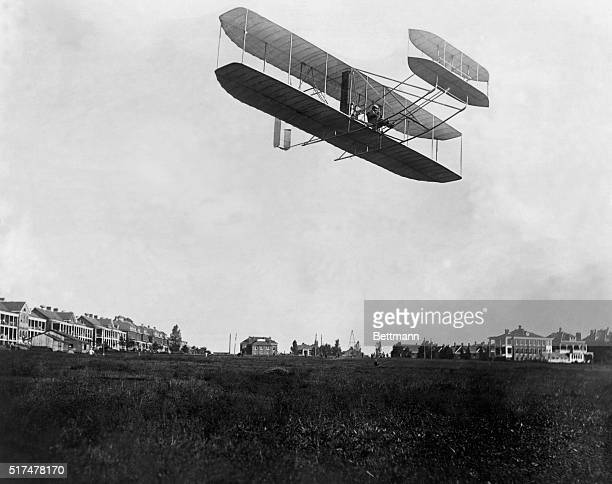 Orville Wright flies a government contracted Wright Flyer at Fort Myer Virginia