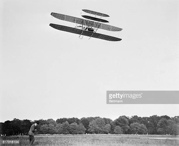Orville Wright flies a Wright Model A at Fort Myer Virginia on September 12 1908 The flight was a demonstration for the US Army the first of a series...