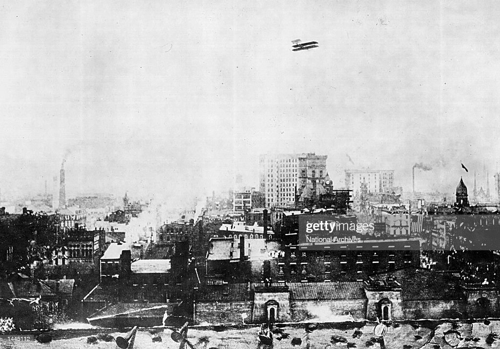 Orville Wright flying over Dayton OH in September of 1910