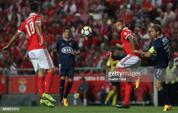 Os Belenenses defender Goncalo Silva from Portugal with SL Benfica forward Haris Seferovic from Switzerland in action during the Primeira Liga match...