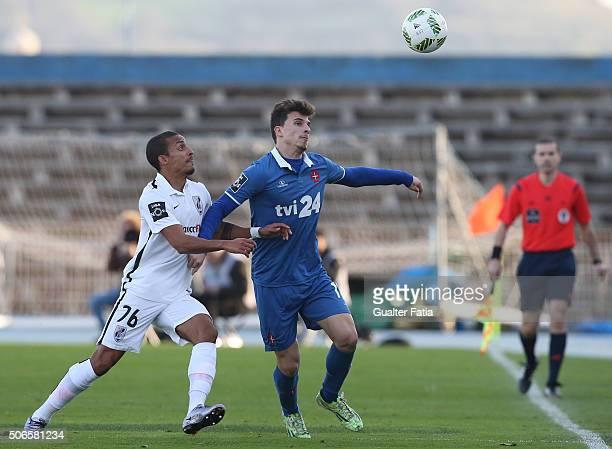 Os Belenenses' forward Fabio Sturgeon with Vitoria de Guimaraes' defender Bruno Gaspar in action during the Primeira Liga match between Os Belenenses...