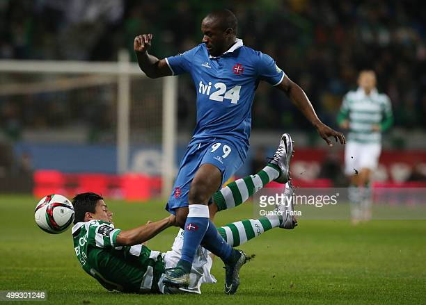Os Belenenses' forward Luis Leal with Sporting CP's defender Jonathan Silva in action during the Primeira Liga match between Sporting CP and Os...