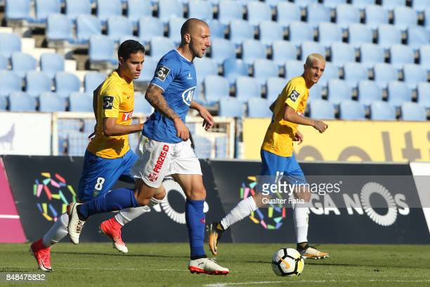 Os Belenenses midfielder Andre Sousa from Portugal in action during the Primeira Liga match between CF Os Belenenses and GD Estoril Praia at Estadio...