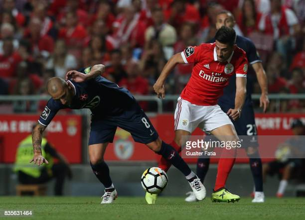 Os Belenenses midfielder Andre Sousa from Portugal tackled by SL Benfica forward Pizzi from Portugal during the Primeira Liga match between SL...