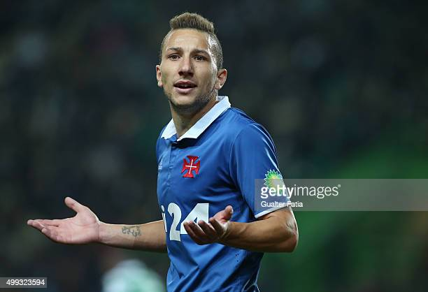 Os Belenenses' midfielder Andre Sousa questions referee's decision during the Primeira Liga match between Sporting CP and Os Belenenses at Estadio...
