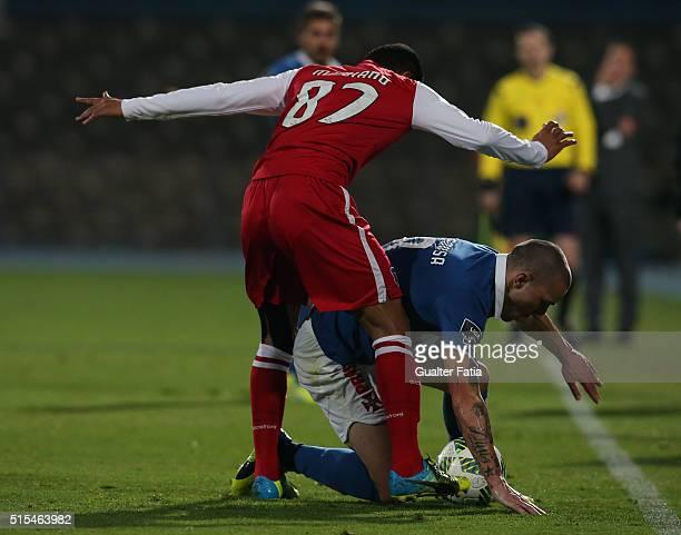 Os BelenensesÕ midfielder Andre Sousa with SC BragaÕs defender Marcelo Goiano in action during the Primeira Liga match between Os Belenenses and SC...