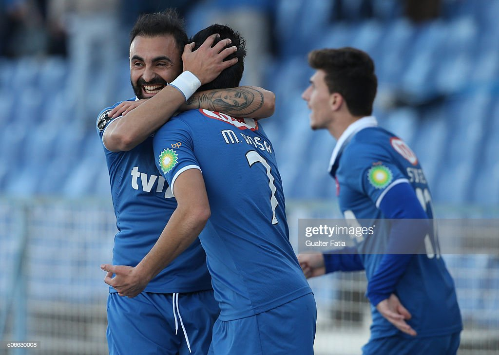 Os Belenenses midfielder Miguel Rosa celebrates with teammate Os Belenenses midfielder <a gi-track='captionPersonalityLinkClicked' href=/galleries/search?phrase=Carlos+Martins&family=editorial&specificpeople=685923 ng-click='$event.stopPropagation()'>Carlos Martins</a> after scoring a goal during the Primeira Liga match between Os Belenenses and Vitoria de Guimaraes at Estadio do Restelo on January 24, 2016 in Lisbon, Portugal.