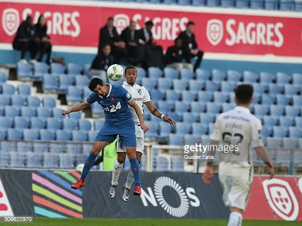Os Belenenses' midfielder Miguel Rosa with Vitoria de Guimaraes' defender Bruno Gaspar in action during the Primeira Liga match between Os Belenenses...