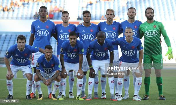 Os Belenenses players pose for a team photo before the start of the PreSeason Friendly match between CF Os Belenenses and GD Estoril Praia at Estadio...