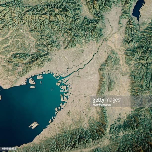 Osaka 3D Render Satellite View Topographic Map