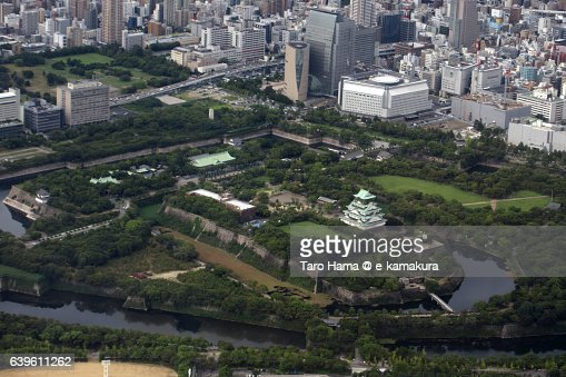 Osaka castle aerial view from airplane