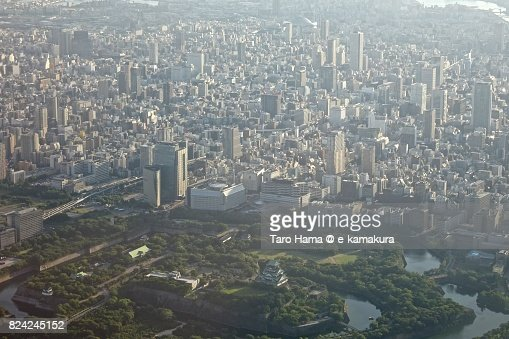 Osaka Castle and center of Osaka city in Osaka prefecture daytime aerial view from airplane : ストックフォト