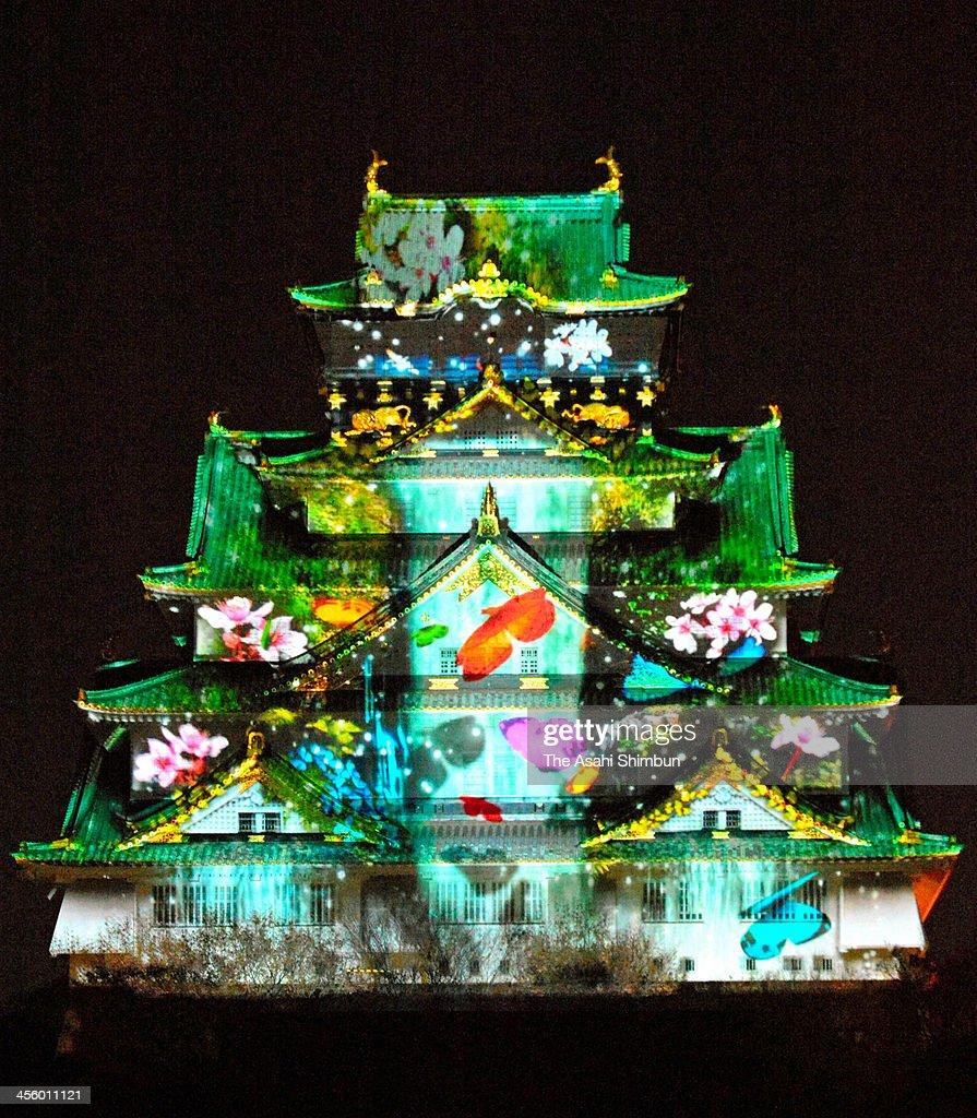 osaka castle previews 3-d illumination event photos and images