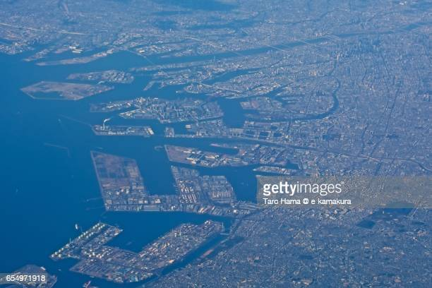 Osaka city and port, daytime aerial view from airplane