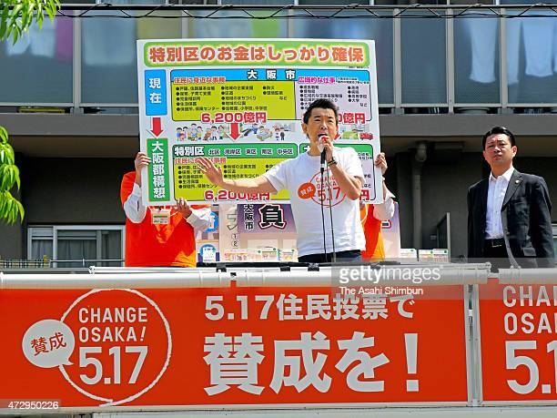 Osaka City Mayor Toru Hashimoto makes a street speech during the referendum campaign on May 10 2015 in Osaka Japan The referendum is on whether to...