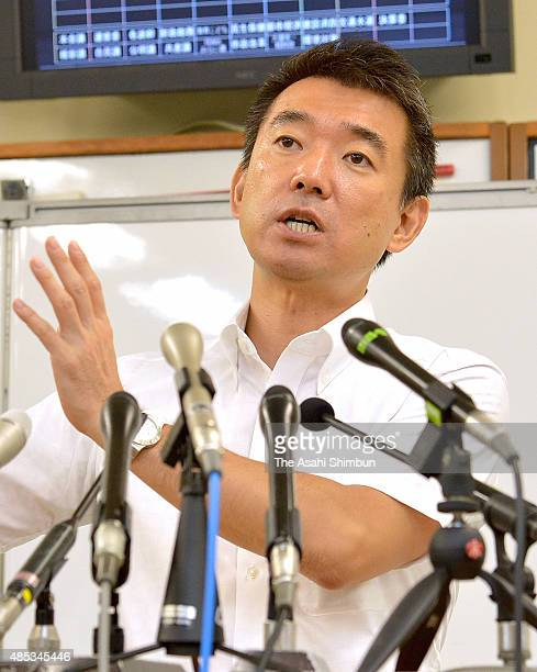 Osaka City Mayor Toru Hashimoto speaks during a press conference at Osaka City Hall on August 27 2015 in Osaka Japan Hashimoto announces to withdraw...