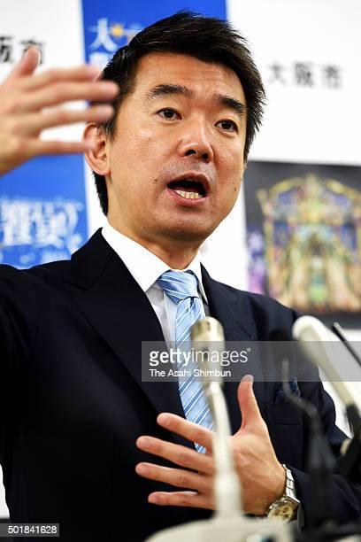 Osaka City Mayor Toru Hashimoto speaks during a press conference at Osaka City Hall on December 18 2015 in Osaka Japan